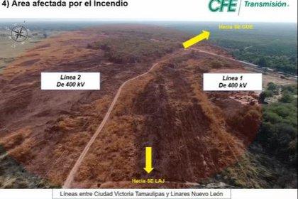 Imagen del pasto quemado en la zona (Foto: cortesía CFE)