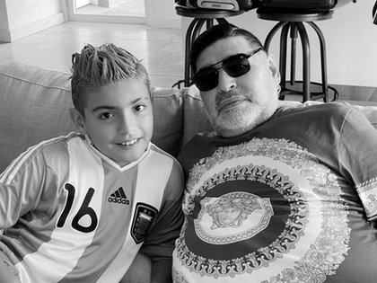 Benjamin with his grandfather, Diego Maradona