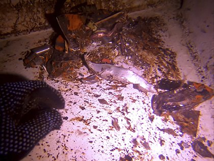 Material dañado dentro de uno de los petroleros presuntamente atacados en mayo (AP)