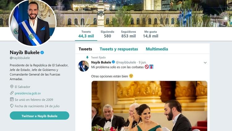 El perfil de Twitter de Nayib Bukele