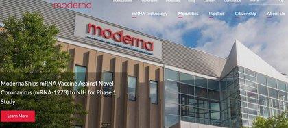 La portada del sitio web del laboratorio Moderna, de Massachusetts, donde se están probando vacunas para combatir contra el coronavirus COVID-19
