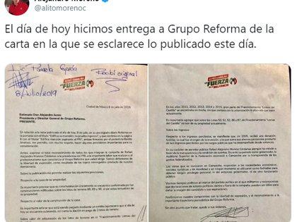 Carta a Grupo Reforma (Foto: Twitter/ alitomorenoc)