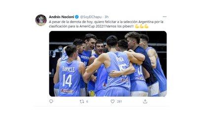 Nocioni felicito a la seleccion de basquet por la clasificacion a la Americup 2022