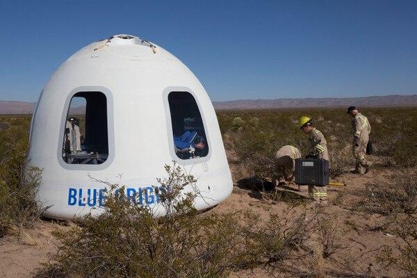 La cápsula de Blue Origin con la que se trasladarían pasajeros al espacio