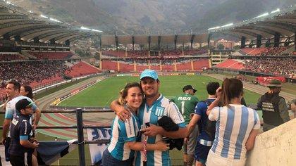 La pareja de Racing en el estadio Olímpico Metropolitano de Mérida, donde la Academia se impuso por 2 a 1 frente a Estudiantes en el debut del equipo de Sebastián Beccacece en la Copa Libertadores