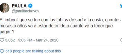 El tuit de Paula Chaves