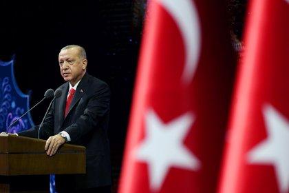 Recep Erdogan, presidente de Turquía, durante un discurso este lunes en Ankara (Oficina de prensa presidencial via REUTERS)