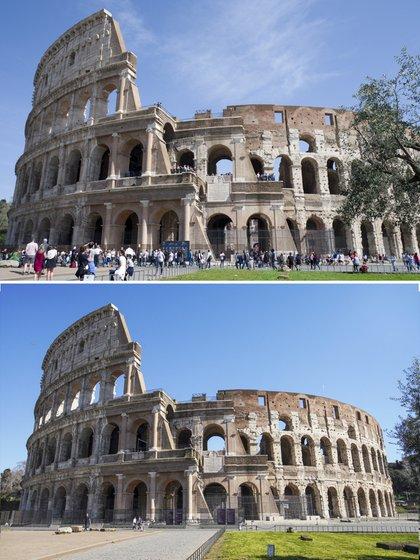 ARCHIVO - En esta imagen combinada, el antiguo Coliseo romano, arriba a las 12:49 del domingo 8 de abril de 2018, y debajo a las 13:00 del miércoles 11 de marzo de 2020. (AP Foto/Virginia Mayo, Andrew Medichini)