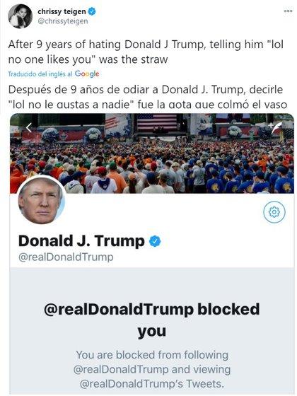Trump había bloqueado a Teigen