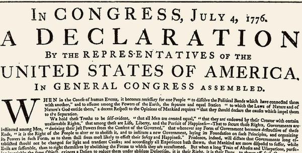 La Declaración de Independencia data de 1776: su lenguaje no pasó la revisión de la red social. (Wikicommons)