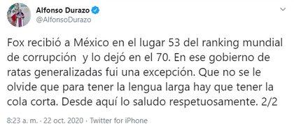 Durazo recordó los niveles de corrupción durante el gobierno de Fox