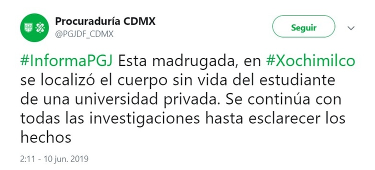 La Procuraduría General de Justicia de la Ciudad de México informó que fue localizado el cuerpo de Norberto Ronquillo(Foto: Twitter)
