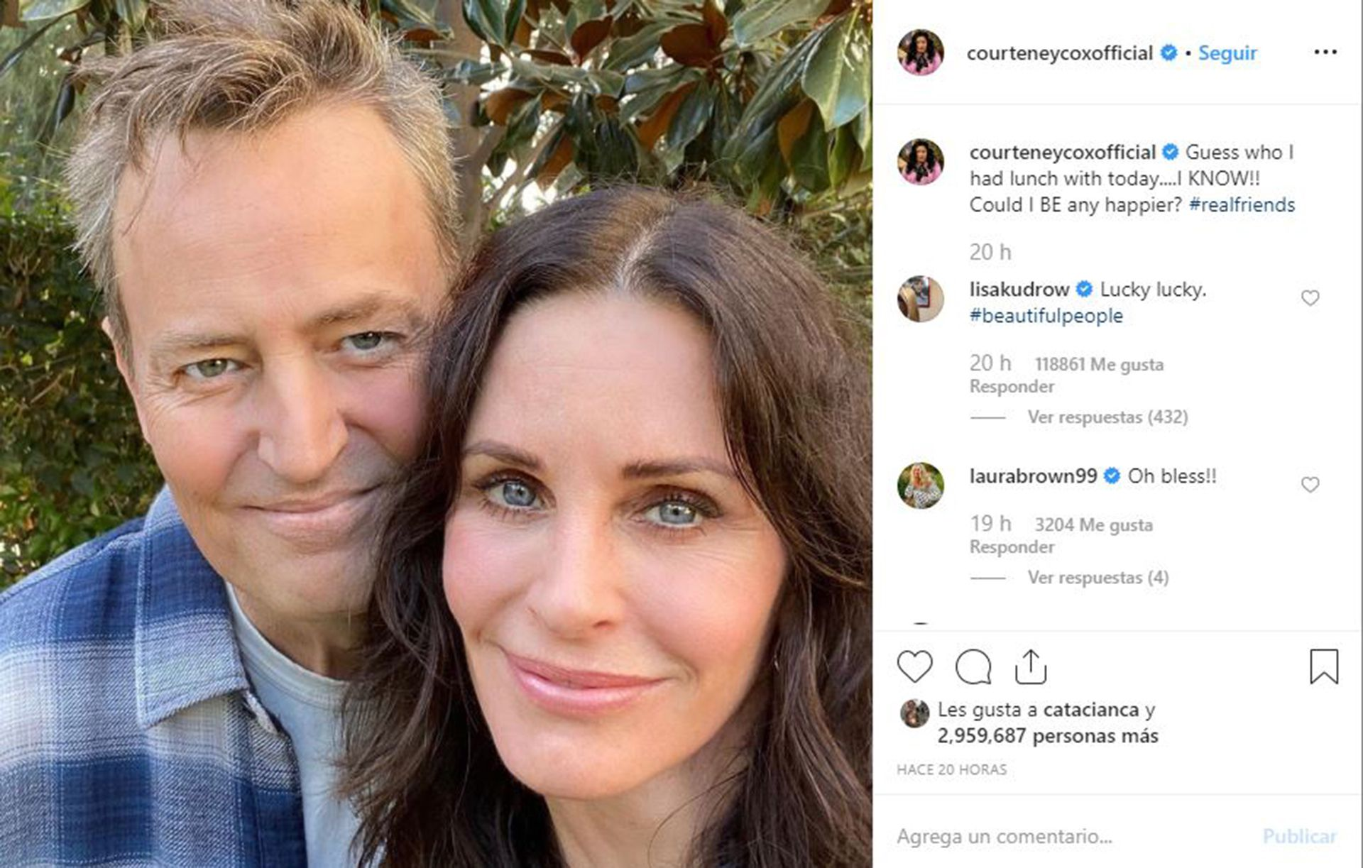 El posteo de Courtney Cox en Instagram