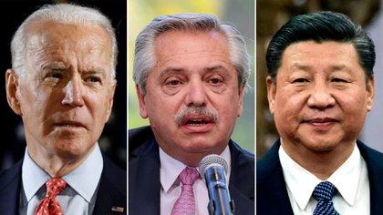 Joe Biden, Alberto Fernández y Xi Jinping