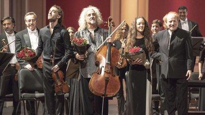 Maisky Trio junto a la Orquesta Filarmónica de Buenos Aires dirigida por Enrique Arturo Diemecke. (Arnaldo Colombaroli)