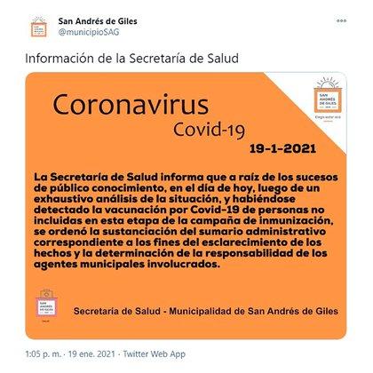 El comunicado del oficialismo en el que admitió las vacunaciones irregulares