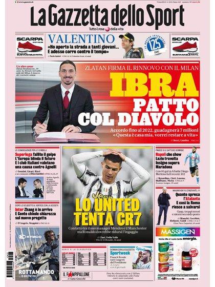 La tapa del 23 de abril de la Gazzetta dello Sport muestra a CR7 como principal protagonista