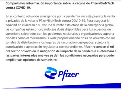 Pfizer anuncia que no tiene prevista la venta de vacunas a privados por el momento. Foto: Pfizer Colombia.