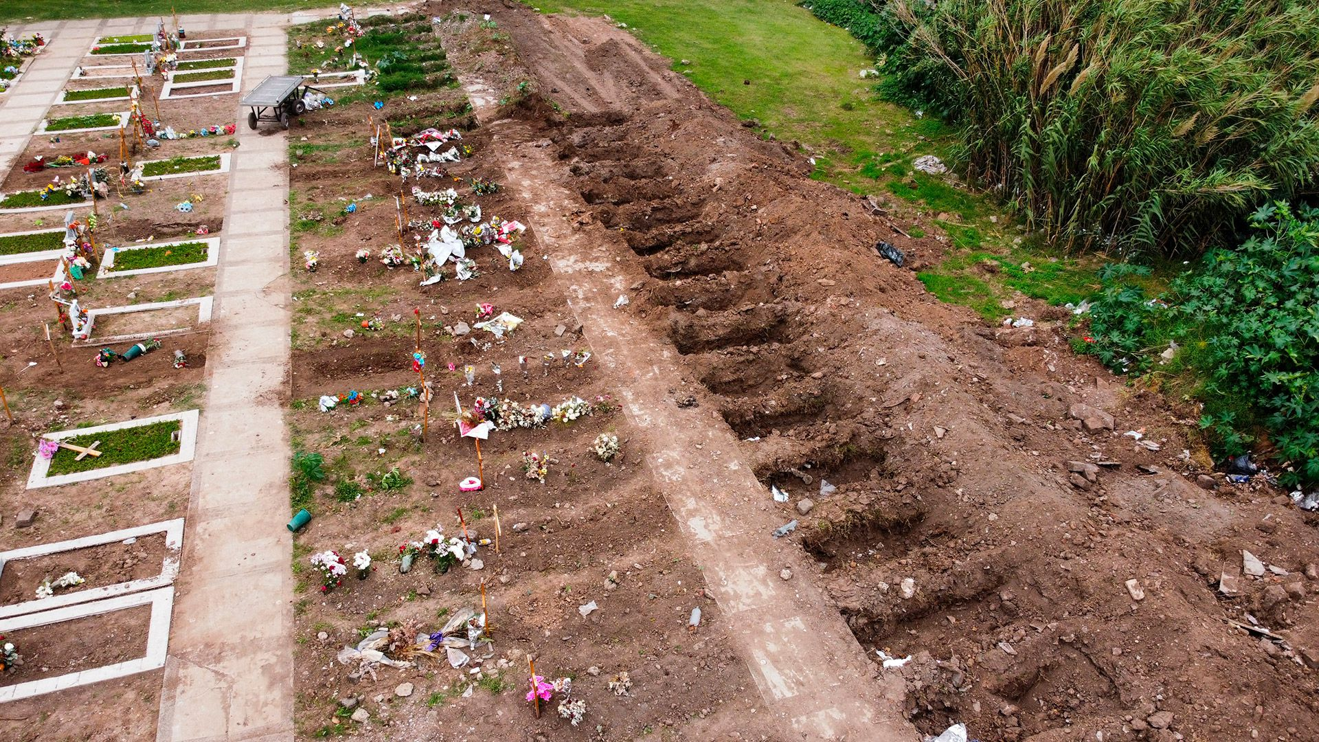tumbas cementerio bajo flores covid 19