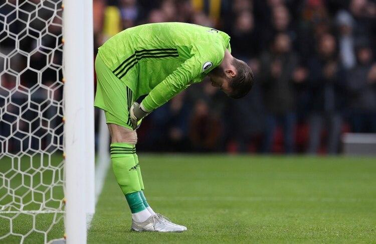 La reacción de David de Gea luego de su error en el duelo entre Manchester United y Watford lo dice todo (REUTERS)