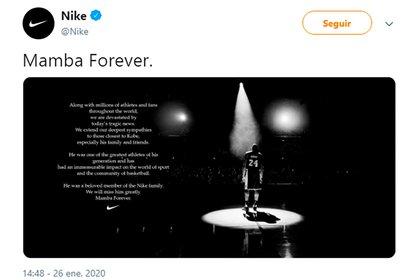 El tuit de Nike cuando falleció el basquetbolista Kobe Bryant