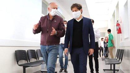 Axel Kicillof, junto al intendente de Lanús, Néstor Grindetti (Prensa Lanús)