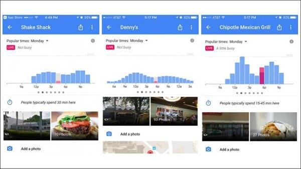 Así muestra Google Maps los tiempos de espera en restaurantes