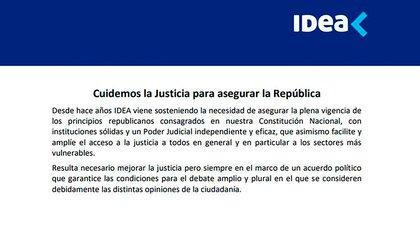 El inicio del Comunicado de IDEA sobre la reforma judicial