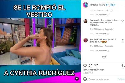 Los seguidores hicieron comentarios sobre lo que le ocurrió a la presentadora. (Captura: @vengalaalegriatva/Instagram)