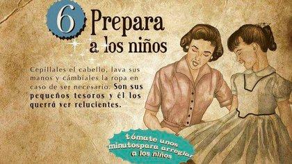 """""""Arreglar a los niños"""" es una parte importante de las tareas domésticas. La """"Guía de la buena esposa"""" lo representó con esta imagen, brindando una noción romántica de esta tarea que hoy se intenta deconstruir."""