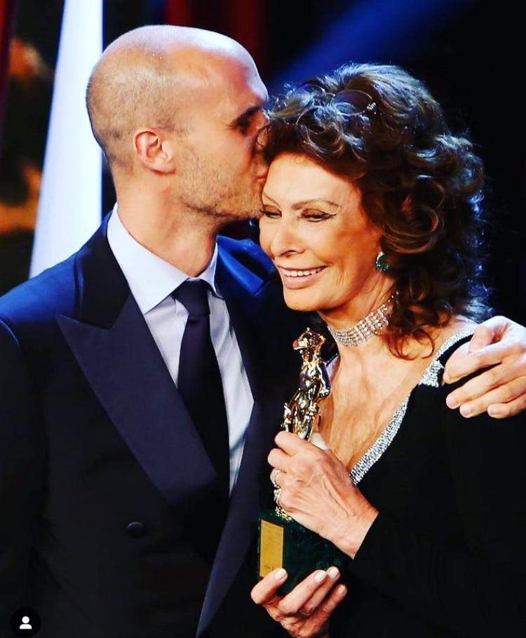 Con su hijo Edoardo