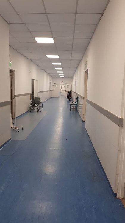 Uno de los pasillos del Hospital Eva Perón de Barranqueras, en la provincia de Chaco