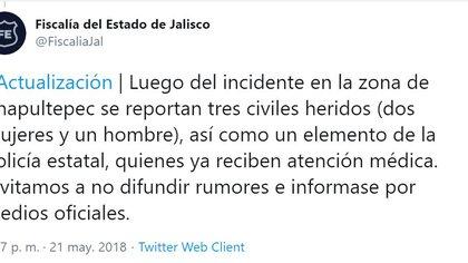 La Fiscalía de Jalisco informó respecto al atentado  (Foto: Twitter @FiscaliaJal)