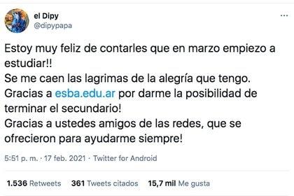 El mensaje en Twitter del El Dipy recibió el apoyo de sus seguidores (Foto: @dipypapa)