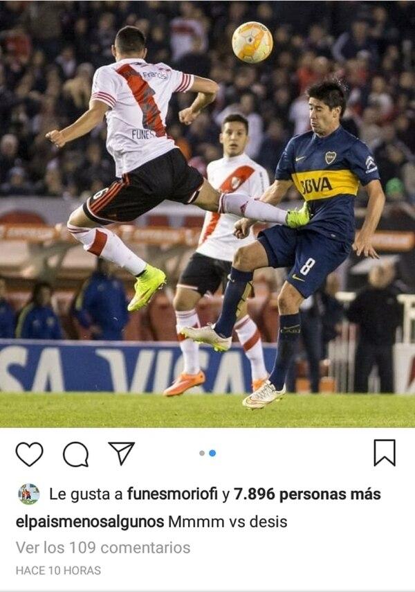 Funes Mori le puso un like a la publicación recordando aquella entrada a Pablo Pérez