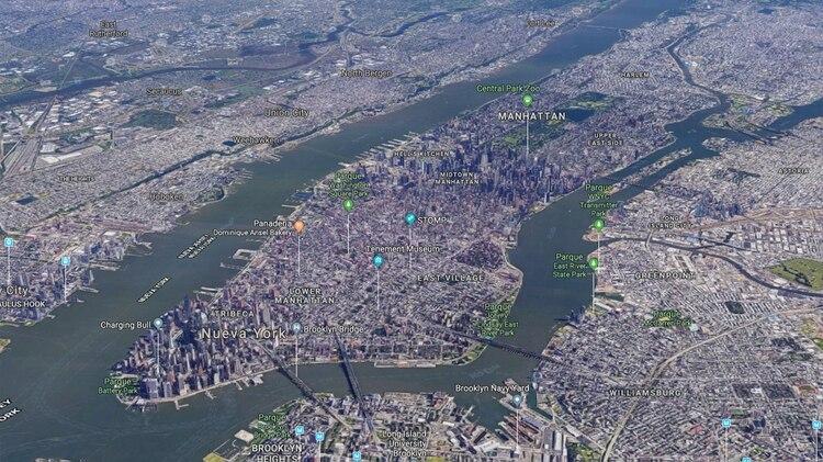 La ciudad de Manhattan desde el aire (Google maps)