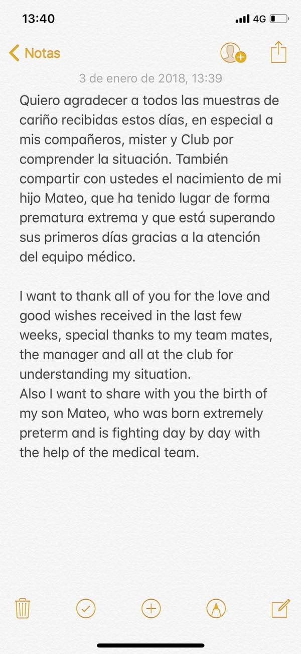 Silva publicó el comunicado en idioma español e inglés