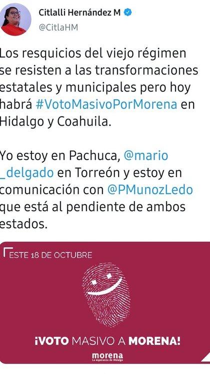 Citlalli Hernández pudo haber incurrido en un acto ilegal al promover el voto durante la jornada electoral (Foto: Twitter / @CitlaHM)