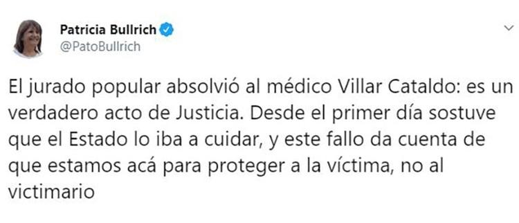 El tuit de la ministra que aplaudió la absolución.