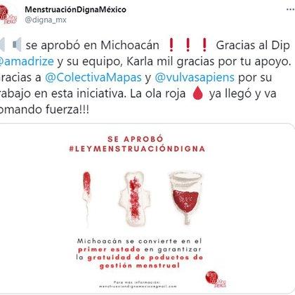 El Movimiento Menstruación Digna celebró la aprobación en Michoacán (Foto: captura de pantalla Twitter @digna_mx)