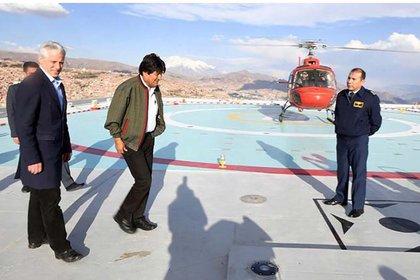 Morales se mueve en helicóptero aún para recorrer distancias cortas en La Paz (gentileza ABI)