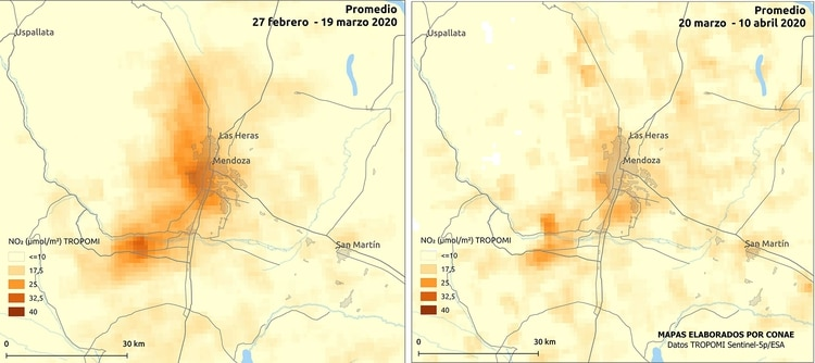 Mapa comparativo de NO2 en Mendoza, de febrero-marzo - marzo-abril (CONAE)