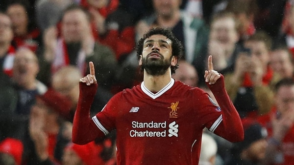 Soccer Football – Champions League Semi Final First Leg – Liverpool vs AS Roma – Anfield, Liverpool, Britain – April 24, 2018 Liverpool's Mohamed Salah celebrates scoring their first goal REUTERS/Phil Noble