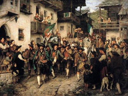 """""""Regreso del Landsturm tirolés en la guerra de 1809"""", de Franz Defregger"""