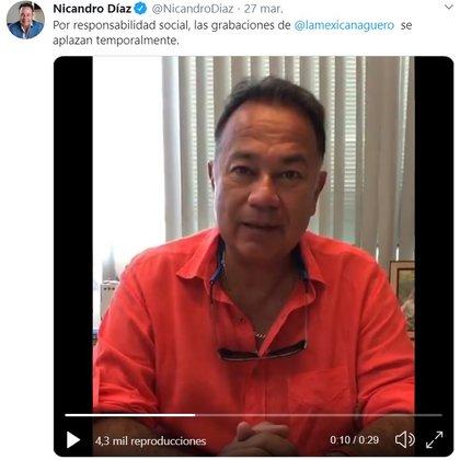 """Hace unos meses Nicandro Díaz habló sobre la suspensión del inicio de las grabaciones de """"El mexicano y el güero"""" debido a COVID-19 (Foto: Captura de pantalla)"""
