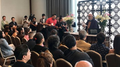 Se realizó una misa para pedir por el éxito del proyecto, una tradición entre las telenovelas mexicanas (Foto: Infobae México/ Fernando Guarneros)