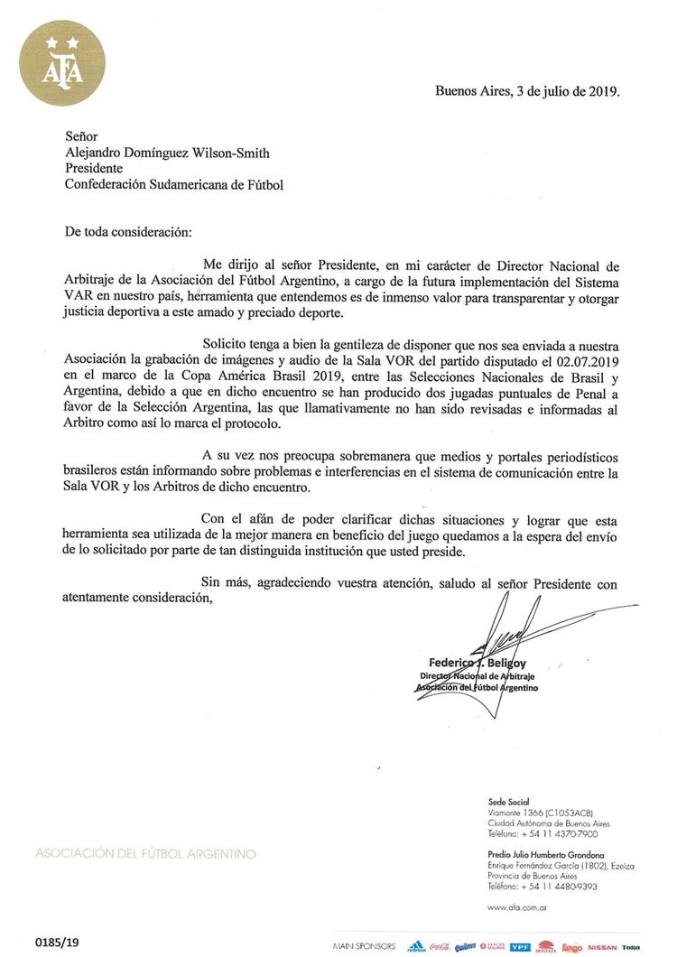 La carta firmada por Beligoy, que acompaña el reclamo de la AFA