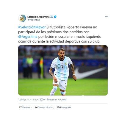 La confirmación de la baja de Roberto Pereyra