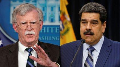 John Bolton y Nicolas Maduro
