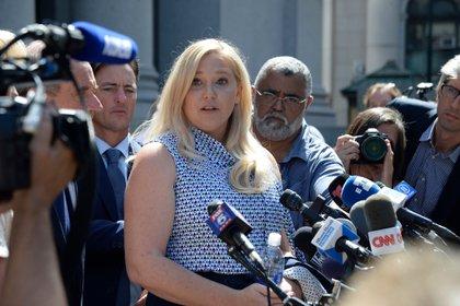 Virginia Roberts Giuffre, en Nueva York, cuando casi dos decenas de mujeres que han acusado a Jeffrey Epstein de abuso sexual se presentaron a una audiencia ante la corte (Jefferson Siegel para The New York Times)